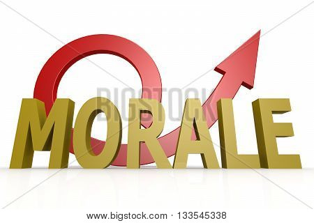 Morale word with red arrow image, 3D rendering
