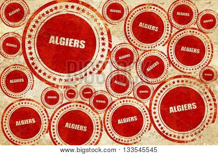 algiers, red stamp on a grunge paper texture