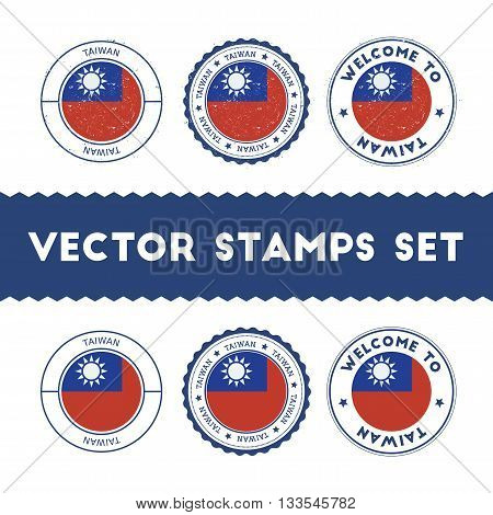 Taiwanese Flag Rubber Stamps Set. National Flags Grunge Stamps. Country Round Badges Collection.