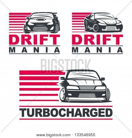 Set of four sport cars logo, badge illustration on white background.Drift, Drag racing, Tuning, Motor Sport. EPS 10