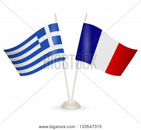 Table stand with flags of Greece and France. Symbolizing the cooperation between the two countries.