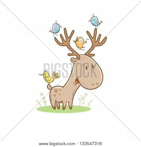 Card with cute cartoon deer and birds. Little funny animal. Children's illustration. Vector image. Big horns.