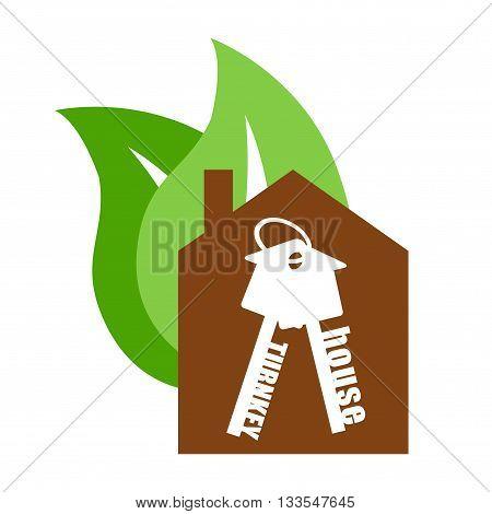 Vector eco icon home. house turnkey. Eco turnkey illustration. House turnkey Flat design style.