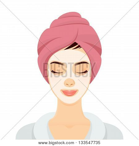 Woman with a cosmetic face mask. Smiling girl portrait. Clean skin, cosmetics concept, fresh healthy face.