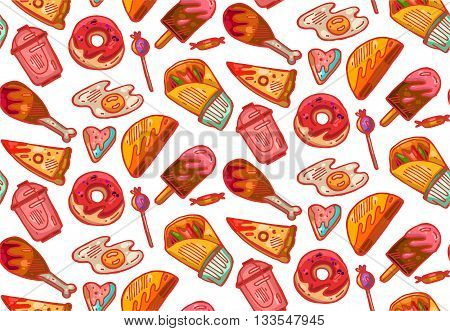 Hand drawn seamless vector pattern of fast food.Food illustration.Kitchen bakery pattern.Fast food box packing pattern design.Decorative elements for your packing design. Multicolor decor