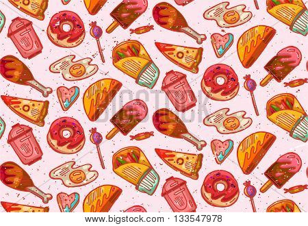 Hand drawn seamless vector pattern of fast food.Food illustration.Fast food box packing pattern design.Great for menu poster or restaurant background.Grunge style textured.