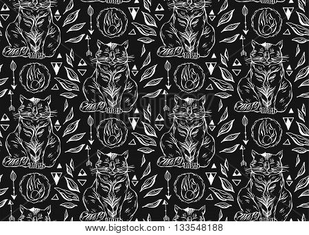 Hand drawn vector seamless black and white line cute cats pattern.Cat art background.Cat with handarrows and triangles on black background.