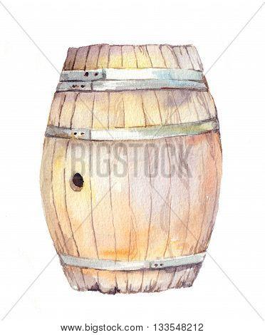 Wood barrel for wine, beer. Watercolor keg