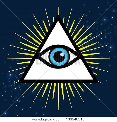Vector symbol - All seeing eye. Sign - third eye.