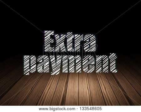 Banking concept: Glowing text Extra Payment in grunge dark room with Wooden Floor, black background