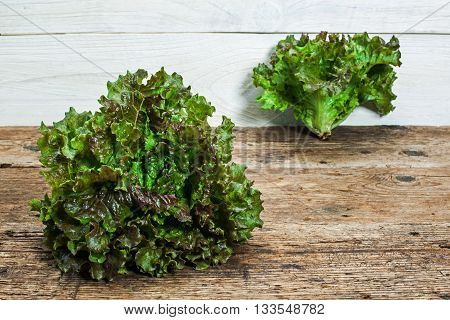 two lettuces on a wooden table background