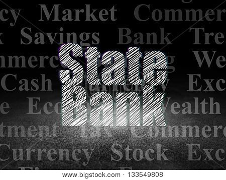 Money concept: Glowing text State Bank in grunge dark room with Dirty Floor, black background with  Tag Cloud