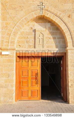 Entrance to old christian building in old Jaffa. Israel.