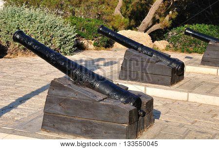 Guns of Napoleon in old Jaffa. Israel.