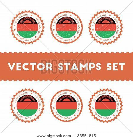 I Love Malawi Vector Stamps Set. Retro Patriotic Country Flag Badges. National Flags Vintage Round S