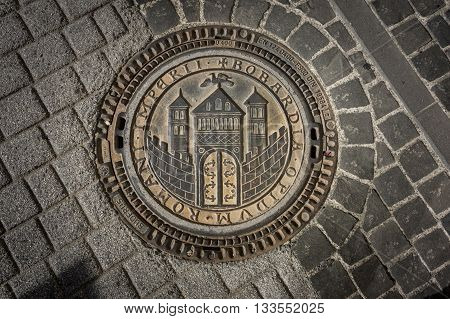 BOPPARD GERMANY 8 AUGUST 2014 - ornate drain cover in Boppard Germany