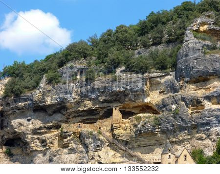 Ruins in the cliffs above La Roque-Gageac