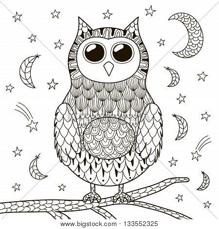 Cute zentangle owl at night for coloring book. Black and white background. Vector illustration