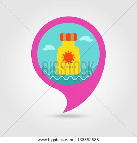 Sunscreen vector pin map icon. Beach Map pointer. Summer Map markers. Holiday. Summertime. Vacation eps 10