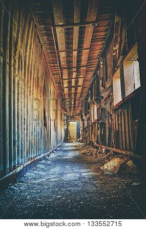 Old abandoned ruin factory damage building inside , hong kong