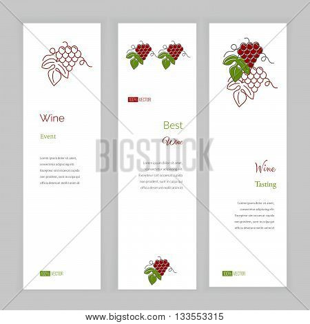 Set of vertical banners with grapes. Banner template with logo for restaurant, cafe, bar or fast food. Concept for wine making companies and wine industry. Vector banner templates.