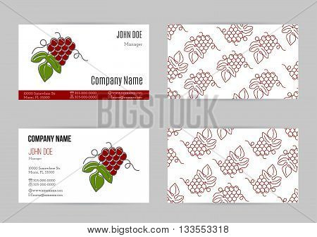 Set of business cards with grapes. Business card template with logo for restaurant, cafe, bar or fast food. Concept for wine making companies and wine industry. Vector business cards templates