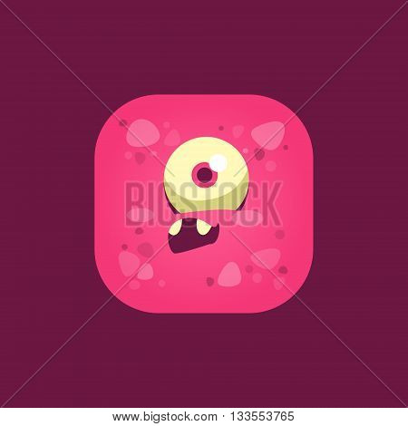Feeling Stupid Pink Monster Emoji Icon. Creative Vector Emoticon Alien Monster Face. Cartoon Monster Character Square Button Drawing.