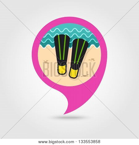 Flippers vector pin map icon. Beach Map pointer. Summer Map markers. Holiday. Summertime. Vacation eps 10