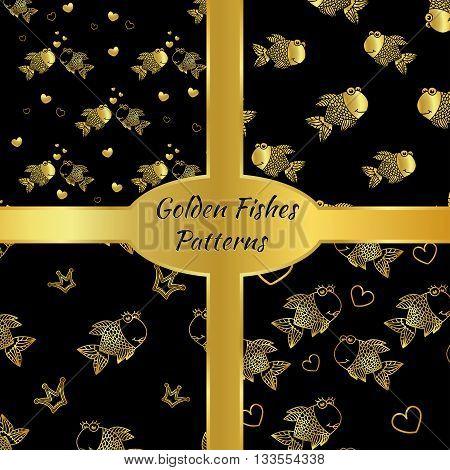 Golden vector fish seamless pattern. Vestor illusrtration.