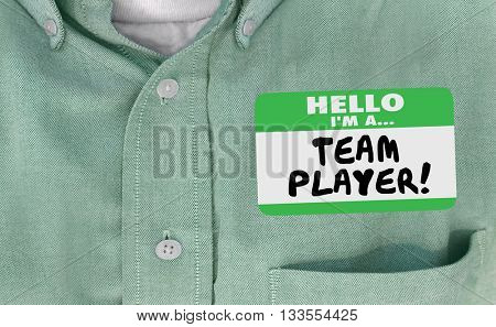 Hello I'm Team Player Name Tag Collaborate Work Together Words