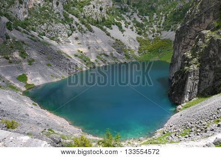 Looking down over the Blue Lake, in Imotski, Croatia