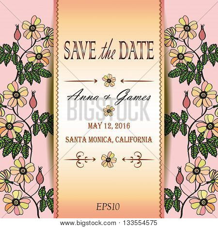 Vector wedding invitation with eglantine. Vector card with briar . Vintage vector card template. Save the date invitation at the tender rose background, eps 10