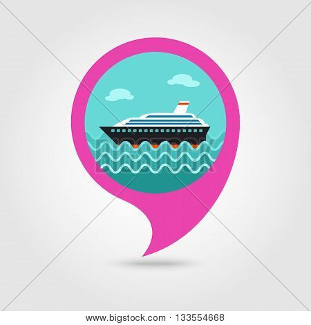 Cruise transatlantic liner vector pin map icon. Marine Map pointer. Summer Map markers. Holiday. Summertime. Vacation eps 10