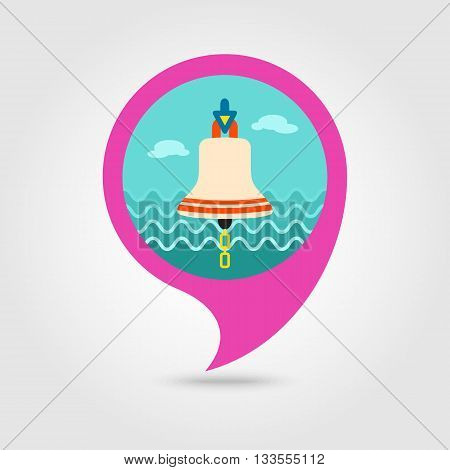 Bell marine vector pin map icon. Map pointer. Map markers. Holiday. Summertime. Vacation eps 10