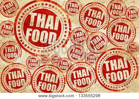 thai food, red stamp on a grunge paper texture