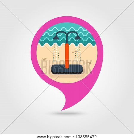 Summer beach pool shower vector pin map icon. Beach Map pointer. Summer Map markers. Holiday. Summertime. Vacation eps 10