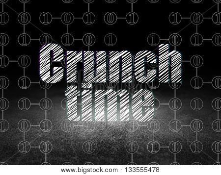 Business concept: Glowing text Crunch Time in grunge dark room with Dirty Floor, black background with Scheme Of Binary Code