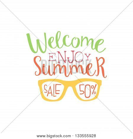 Summer Sale Colorful Ad. Colorful Summer Beach Holiday Promotion Banner. Cool Calligraphic Hand Drawn Vector Advertisement For Travel Agency.