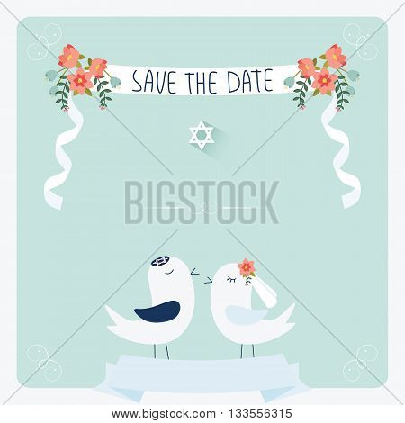 Jewish wedding invitation template. Cute couple of birds under chuppah.