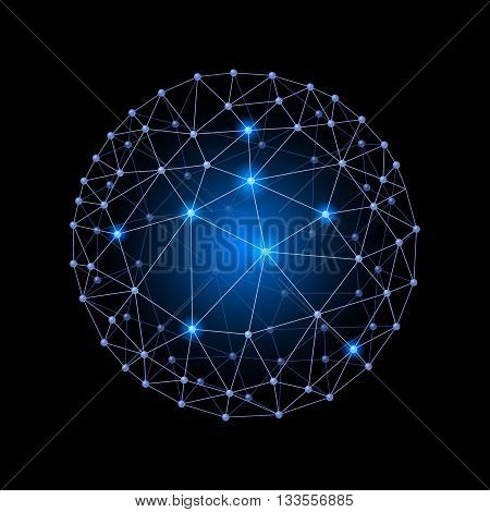 Blue internet web envelopes sphere on the black background