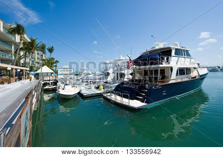 KEY WEST FLORIDA USA - MAY 02 2016: Boats in the harbor of Key West in Florida