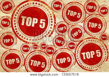 top 5, red stamp on a grunge paper texture