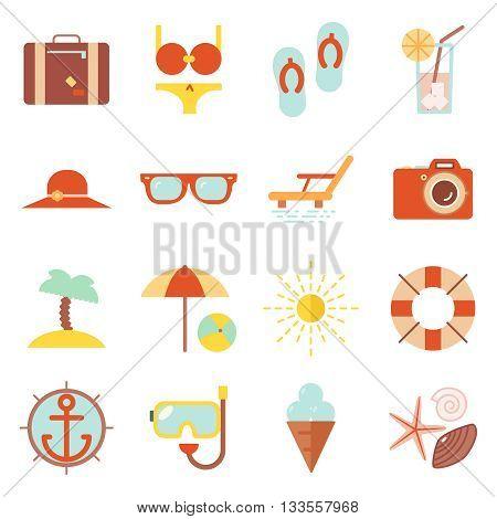 Summer vacation beach resort accessorize vector symbols icon flat design template illustration