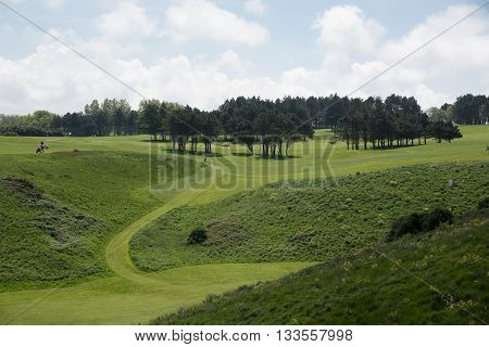 Golf Field By The City Of Etretat, Normandie
