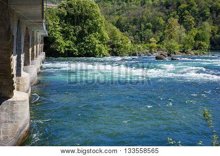railway bridge viaduc at Rhine Falls Switzerland