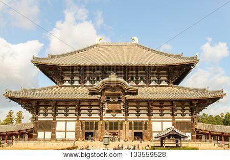 Todaiji Temple front view in Nara Park Japan