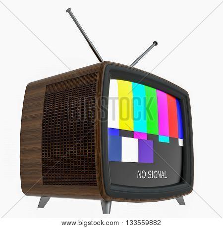 3D Illustration of old style wooden case TV