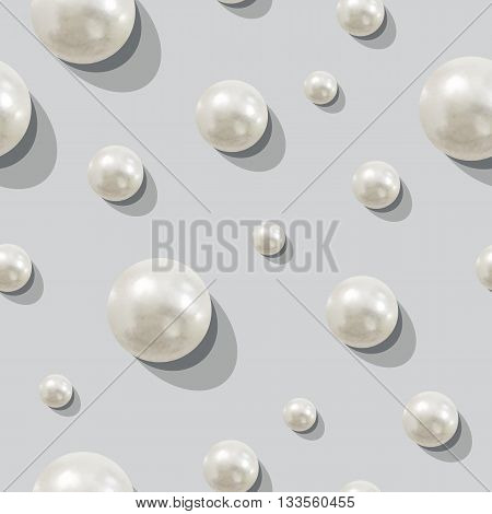 vector seamless pattern of pearls, white beads on gray background
