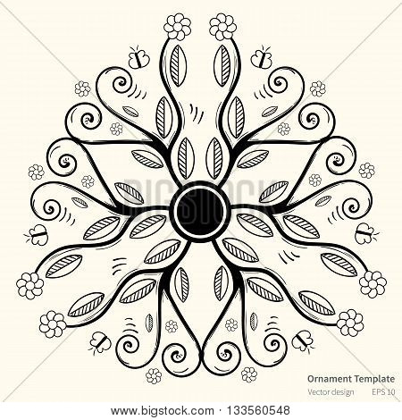 Vector circular abstract ornament. Round vector floral ornament on light background. Stylish ornament in black color with leaves flowers and butterflies. Mandala style ornament for various use.