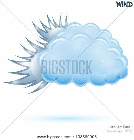 Fully vector wind icon template. Glossy blue cloud object. Glossy wind object. Wind icon template with blue shadow. Wind template icon for various use.